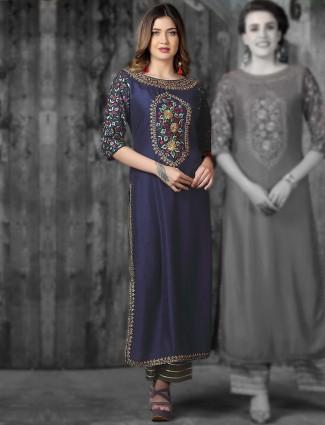 Navy hue round neck kurti in cotton silk
