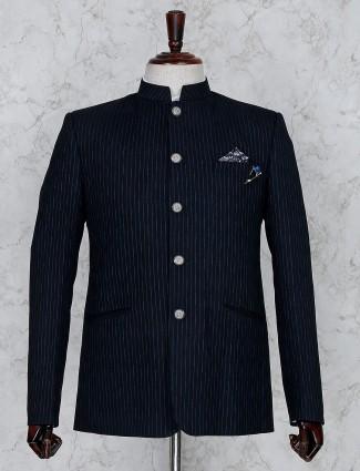 Navy hue stripe pattern terry rayon jodhpuri blazer