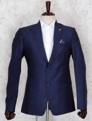 Navy hue textured terry rayon blazer