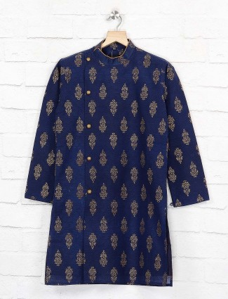 Navy hue zari weaving kurta suit