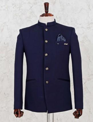Navy jodhpuri blazer in terry rayon