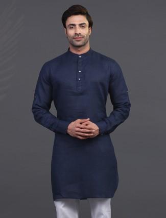 Navy linen kurta for festive wear
