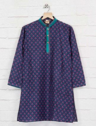 Navy lotus flower printed cotton kurta suit