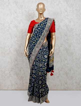Navy muga silk saree for party wear