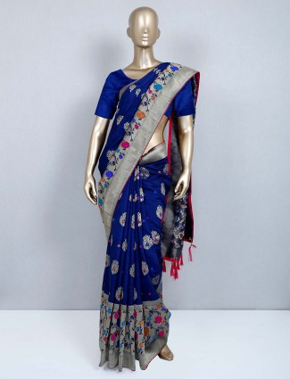 Navy muga silk saree for wedding events