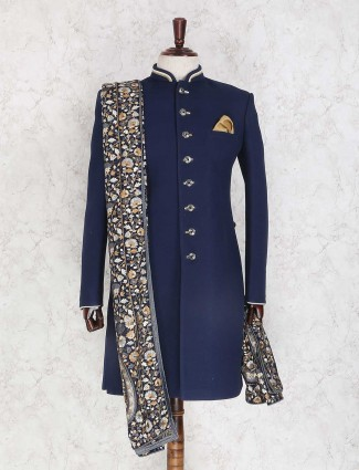 Navy plain wedding indo western
