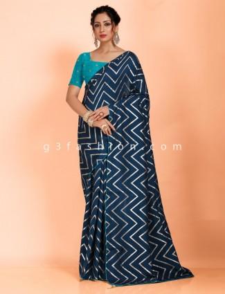 Navy pretty dola silk saree in leheriya