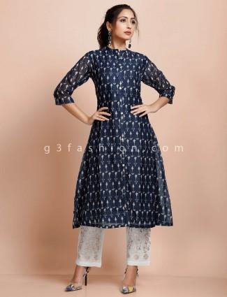 Navy printed cotton chinese neck punjabi pant suit