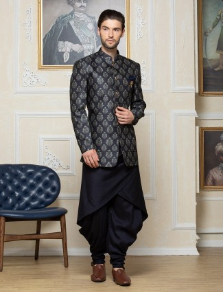 Navy printed silk party function indo western