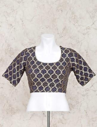 Navy printed with zari weaved bandhej blouse