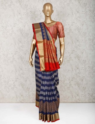 Navy pure silk beautiful saree