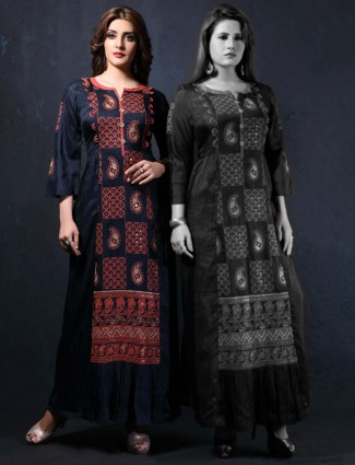 Navy raw silk festive wear long kurti