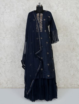 Navy raw silk festive wear punjabi lehenga suit
