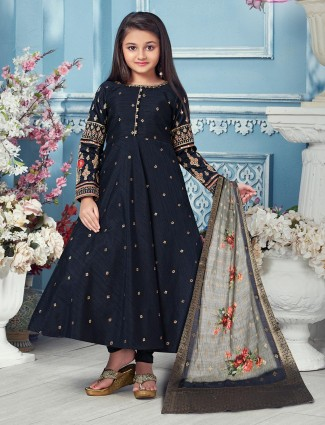 Navy raw silk party floor length anarkali suit