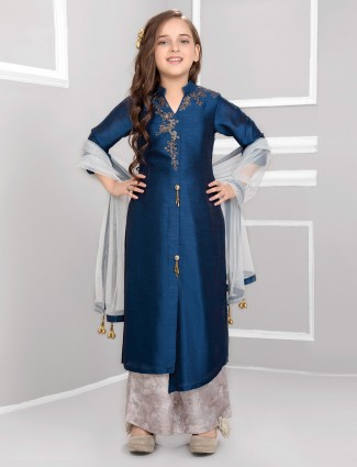 Navy raw silk punjabi palazzo suit for girls