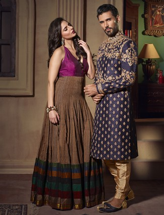 Navy raw silk wedding wear indo western