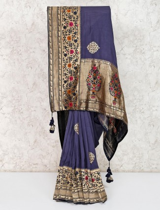 Navy semi silk festive wear saree