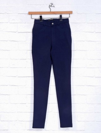 Navy solid casual jeggings