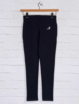 Navy solid cotton casual payjama pant