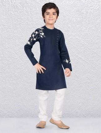 Navy solid cotton fabric kurta suit