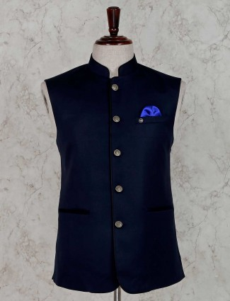 Navy solid stand collar waistcoat