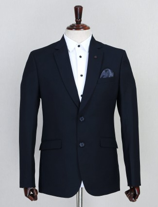 Navy solid terry rayon mens coat suit