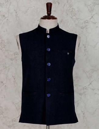 Navy solid terry rayon waistcoat