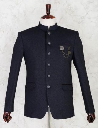 Navy terry rayon solid jodhpuri blazer