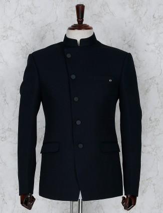 Navy terry rayon solid party jodhpuri blazer