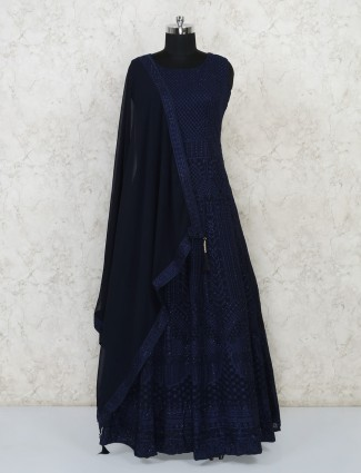 Navy thread woven georgette gown