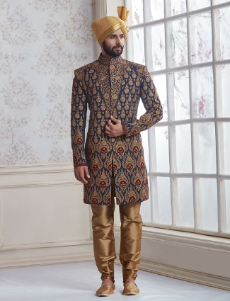 Navy wedding wear indo western in silk fabric