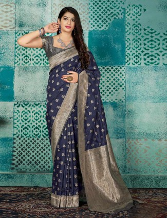 Navy zari weaving banarasi silk saree