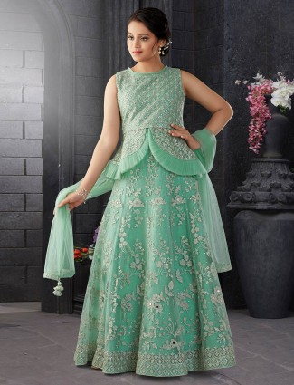 Net fabric green hue lehenga choli for party