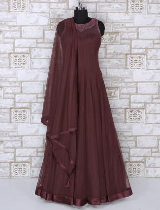 Net fabric maroon anarkali suit