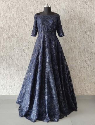 Net fabric navy color floor length gown