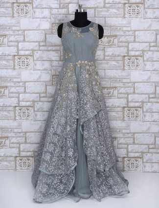 Net grey color designer gown