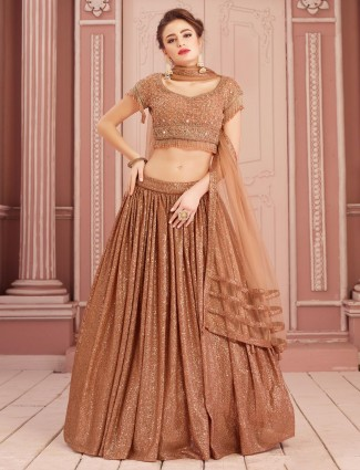 Net lehenga choli in brown