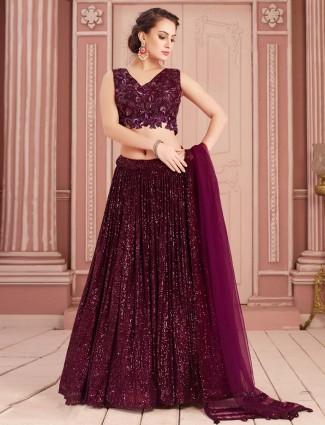 Net maroon lehenga choli for party wear