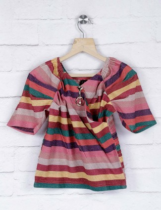 No Doubt pretty pink stripe pattern cotton top