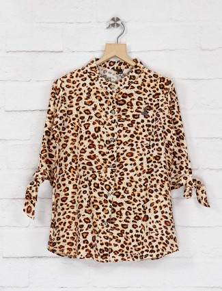 No Doubt yellow color animal printed top
