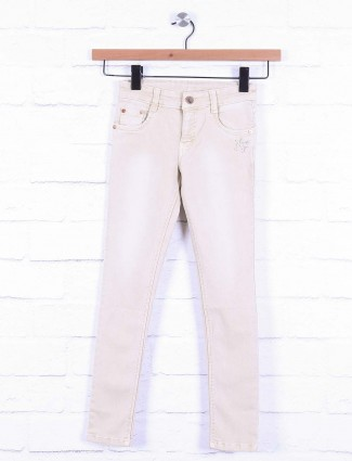 No Fear cream hue solid girls jeans
