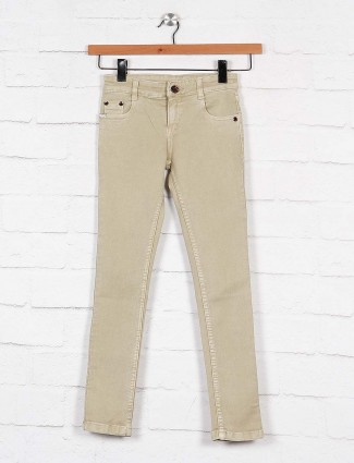 No Fear solid beige slim fit boys jeans