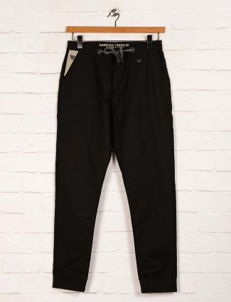 Nostrum black solid cotton mens trouser