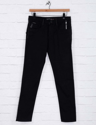 Nostrum black solid mens jeans