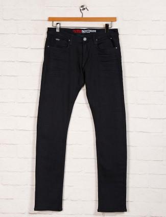Nostrum black solid slim fit mens jeans