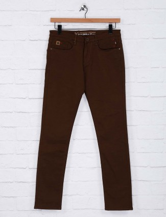 Nostrum casual wear brown hue trouser