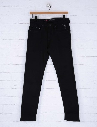 Nostrum slim fit solid black mens jeans