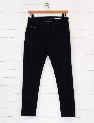 Nostrum solid black slim fit jeans