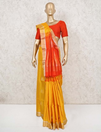 Ochre yellow south silk saree with red palla