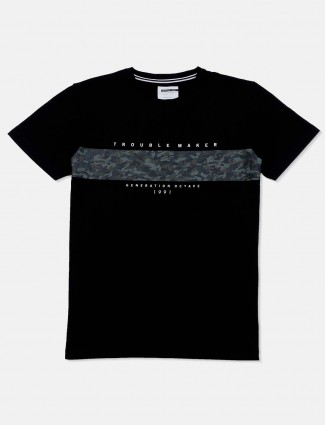 Octave black slim fit t-shirt in printed